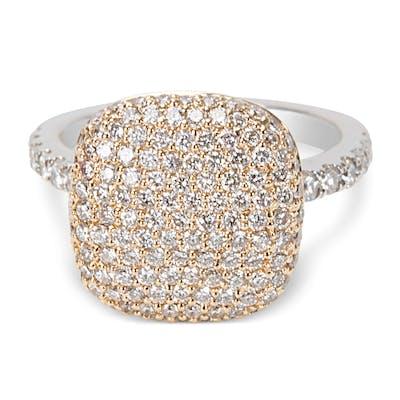 De Hago Pave Diamond Fashion Ring with a Square Top Design 1.38ctw