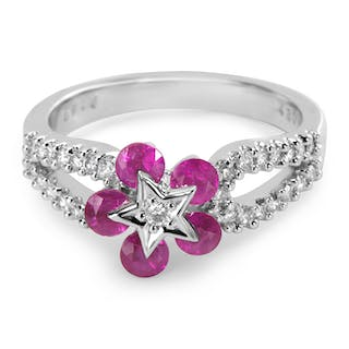 BRAND NEW 18K White Gold Fashion Ring with Rubies and Diamonds (0.28 CTW)
