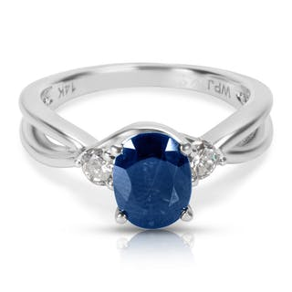 Abraded Sapphire & Diamond Fashion Ring in 14k White Gold (0.25 CTW)