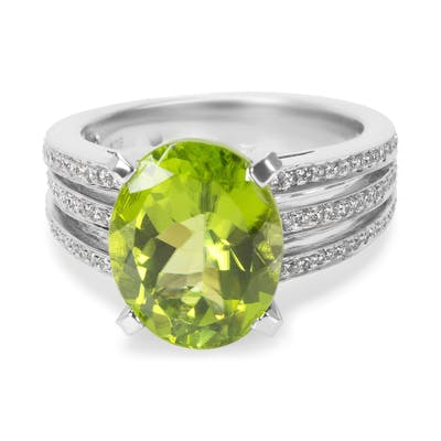Peridot & Diamond 3 Row Gemstone Ring in 18KT White Gold 6.07 ctw