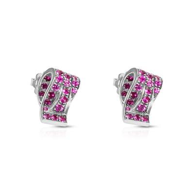 BRAND NEW Favero Ruby Earrings in 18K White Gold 1.08 ctw