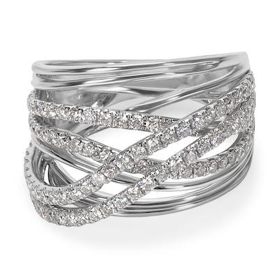 BRAND NEW Diamond Multi-Strand Crossover Ring in 14K White Gold (1.09 CTW)