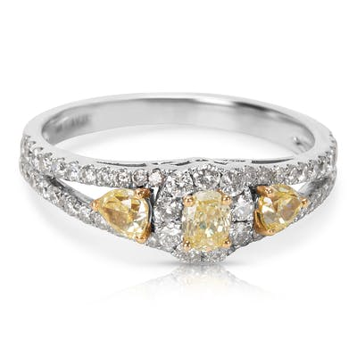 BRAND NEW Yellow Diamond Engagement Ring in 14K White Gold (1.00 CTW)