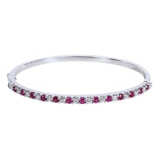 IGI  Certified Diamond & Ruby Bangle Bracelet in 14K White Gold (2.13 CTW)