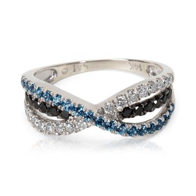 Black & White Diamond with Blue Topaz Ring in 14KT White Gold