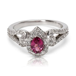 Diamond Halo & Pink Rhodolite Garnet Ring in 14KT Gold 0.85 ctw