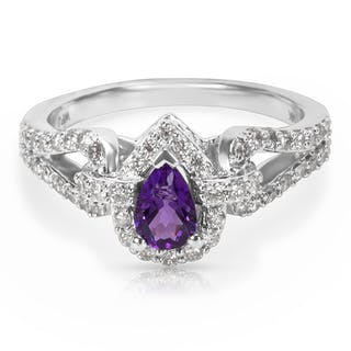 BRAND NEW Amethyst & Diamond Pear Ring in 14K White Gold (0.50 CTW)