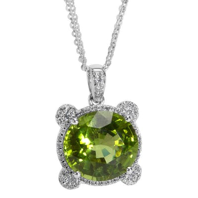IGI Certified Peridot & Diamond Necklace in 18K White Gold (7.11 CTW)