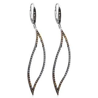 Open Leaf Fancy Diamond Drop Earrings in 14Kt Gold 1.18 ctw