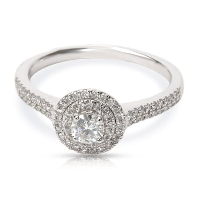 Double Halo Diamond Engagement Ring in 14K White Gold 0.50 CTW