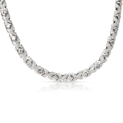 Bulgari Tubini Diamond Necklace in 18KT White Gold 9.5 CTW