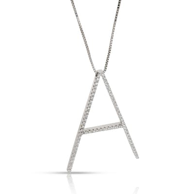 Viera Large Initial A Diamond Pendant in 18K White Gold 0.58 CTW
