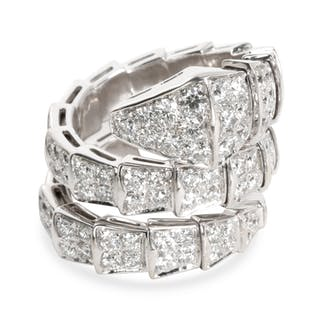 Bulgari Serpenti Diamond Ring in 18K White Gold 4 CTW