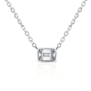 Rock & Divine Day Collection Empowered Emerald Necklace in 18K White Gold 0.41CT