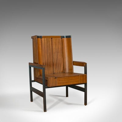 Vintage Arm Chair English Teak Wing Back Seat Modernist Taste Barnebys