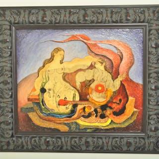Oil Painting 'Nudes' by Mexican Painter Jorge González Velázquez