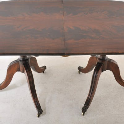 Antique Regency Style Flame Mahogany Twin Pedestal Dining Table, Circa 1890