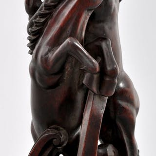 Antique Chinese Carved Ebony Horse Statue / Sculpture, Circa 1880