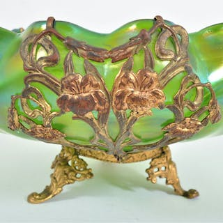 Antique Art Nouveau Czech Loetz Glass Bowl with Metal Mounts, Circa 1900