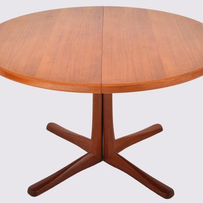 Mid Century Modern Danish Style Teak Dining Table With Twin