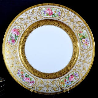 Set of 12 Gilded and Enameled French Limoges Plates, Circa 1890