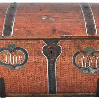 Antique 19th Century German Painted Pine Immigrant Trunk, 1860