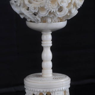 Antique Chinese Qing Dynasty Canton Carved Ivory Puzzle Ball & Stand