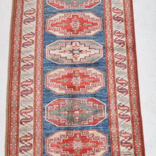 Vegetable Dyed Caucasian Style Kazak Runner/Rug
