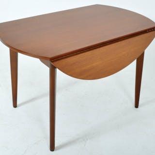 Mid-Century Modern Circular Double Drop Leaf Dining Table in Teak, 1960s