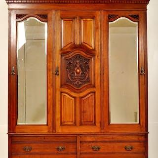 Antique English Satin Walnut Armoire/Wardrobe/Compactum, Circa 1880