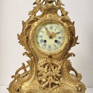 Antique French Ormolu Eight Day Clock in the Rococo Style, Circa 1880