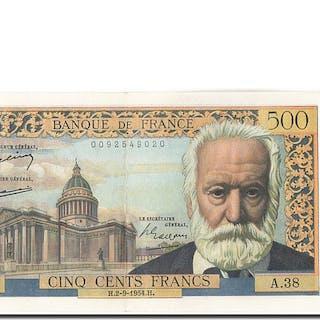 Banknote, France, 500 Francs, 500 F 1954-1958 ''Victor Hugo'', 1954, 1954-09-02