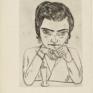 Portrait of Naila leaning on her arms, with glass, 1924 - Max Beckmann