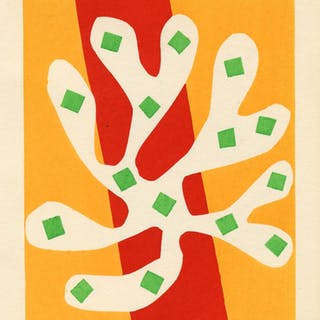 Algue blanche sur fond orange et rouge, 1953 - Henri Matisse