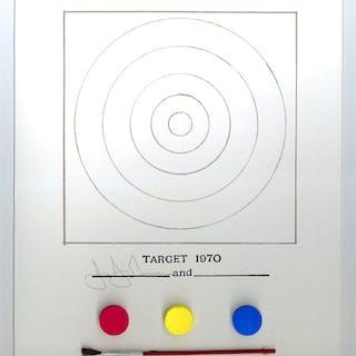 """Target 1970"" original lithograph and mixed media multiple - Jasper Johns"