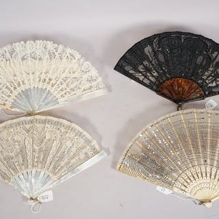 J. Duvelleroy, a French lace and mother-of-pearl fan, circa 1900