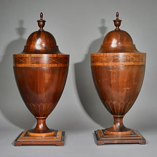 A pair of Adam Revival satinwood banded urn shaped knife boxes, the