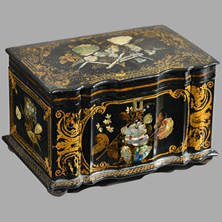 A Regency mother-of-pearl painted parcel gilt papier mâché tea caddy