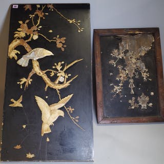 An early 20th century Chinese lacquer panel with stone inlay, 48cm