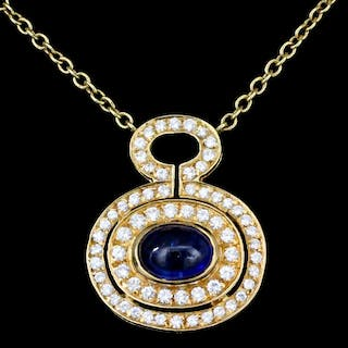 A 20th Century 18ct gold mounted sapphire and diamond pendant