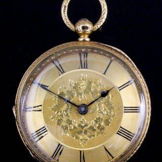 A late Victorian lady's 18ct gold cased pocket watch
