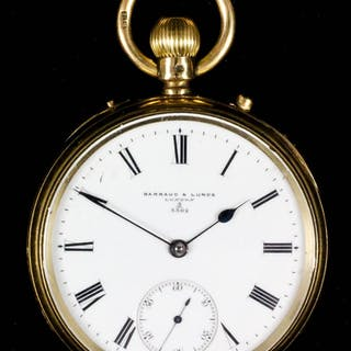 A Victorian 18ct gold open faced pocket watch by Barraud & Lunds