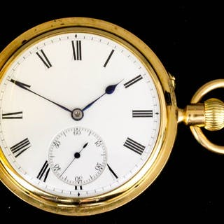 A late Victorian 18ct gold full hunting cased keyless...
