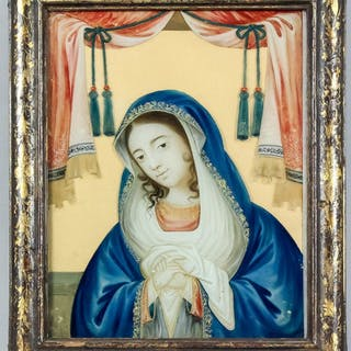 An 18th Century Chinese Export reverse painting on glass of the Virgin Mary