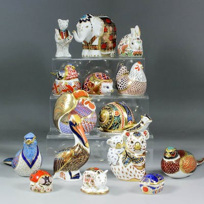 fifteen royal crown derby bone china paperweights modelled as animals