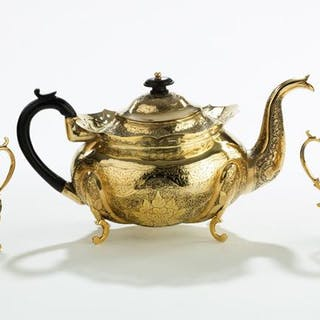 19th century Asian gilt metal tea Set