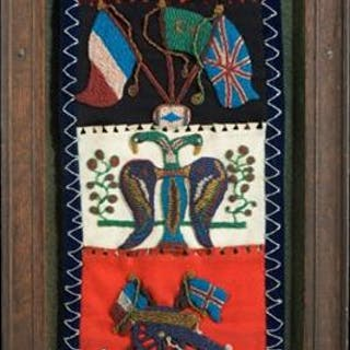 19th century Beadwork panel depicting the Crimean War
