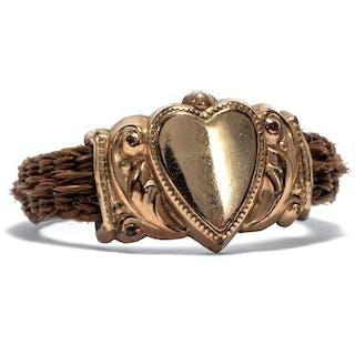 Schöner Ring aus Gold & geflochtenem Haar, Biedermeier um 1840