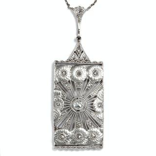 Filigranes Art Déco Collier in Weißgold & Diamanten, späte 1920er Jahre