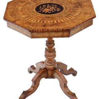 Antique Victorian satinwood walnut marquetry tilt top tea supper table